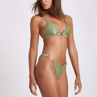 River Island Khaki chain trim high leg bikini bottoms