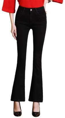 Drasawee Women's Slim Skinny Denim Pants Winter Thicken Jeans Flared Trousers M