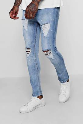 boohoo Skinny Distressed Paint Splatter Jeans