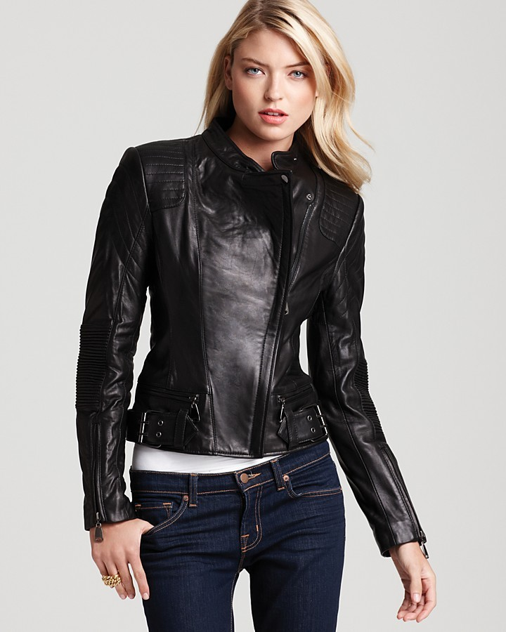 Via Spiga Cropped Moto Jacket with Stitching