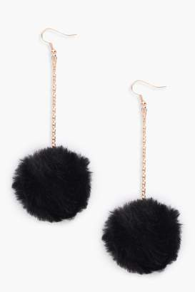 boohoo Pom Pom Faux Fur Drop Earrings