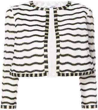 Oscar de la Renta beaded stripe cropped jacket