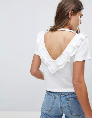 Asos Design Top with Ruffle & V Back Detail