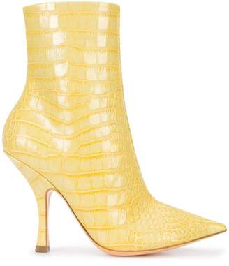 Y/Project Y / Project crocodile-embossed ankle boots