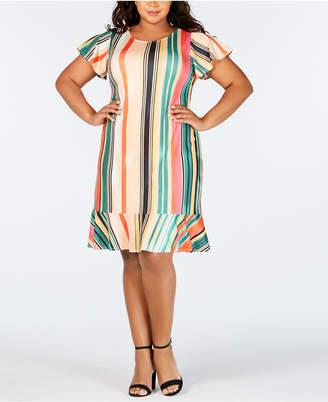 ECI Plus Size Striped Shift Dress