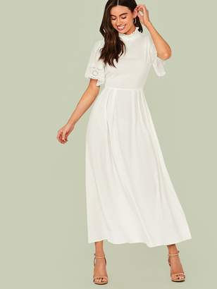 Shein Eyelet Embroidered Detail Fit & Flare Maxi Dress