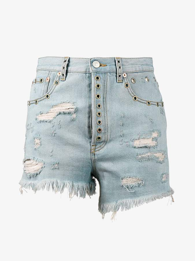 distressed fitted shorts