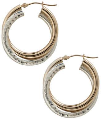 Tag Heuer FINE JEWELLERY 14K Yellow Gold And Sterling Silver Diamond Cut Twist Earrings