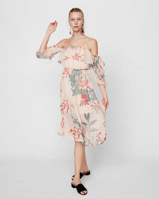 Express Off The Shoulder Smocked Waist Tie Sleeved Dress