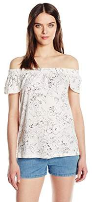 Michael Stars Women's Floral Print Off The Shoulder Tee