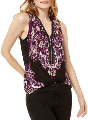 INC International Concepts Printed Half-Zip Tank Top