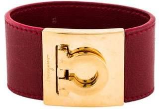 Salvatore Ferragamo Wide Leather Gancio Bracelet