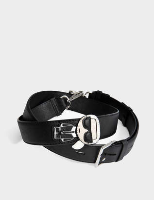 Karl Lagerfeld K/Ikonik Bag Strap in Black Technical Saffiano