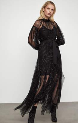 BCBGMAXAZRIA Metallic Ruffle Tulle Gown