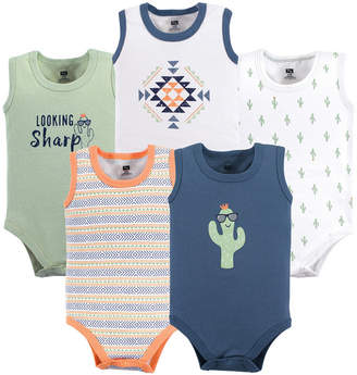 Baby Vision 12-24 Months Unisex Hudson Baby Baby Sleeveless Cotton Bodysuits, 5-Pack