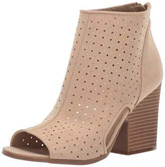 Rampage Women's Vionna Perforated Side Cutout Peep Toe Block Heel Ankle Bootie Boot