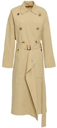 Michael Kors Belted Draped Linen And Silk-blend Trench Coat