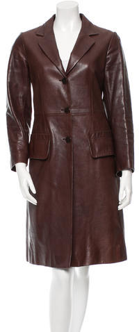 Miu Miu Miu Miu Leather Knee-Length Coat