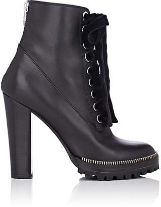 Sergio Rossi Women's Zipper-Trimmed Leather Ankle Boots