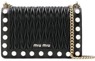 Miu Miu Matelassé pearl detail shoulder bag