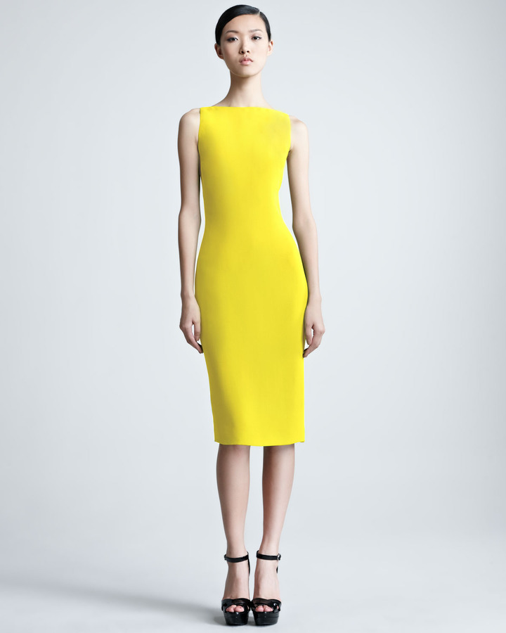 Ralph Lauren Charisse Silk Cady Dress, Yellow