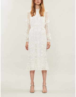 Selfridges Needle And Thread Ellie embroidered tulle and lace midi dress