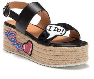 Love Moschino Patch Ankle Strap Platform Sandal