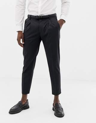Benetton slim fit pleat front suit trousers in grey