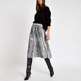 River Island Womens Grey snake print pleated midi skirt