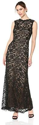 Tadashi Shoji Women's Sleeveless Allover lace Gown, Black/Nude 8
