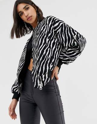 Missguided bomber jacket in zebra print