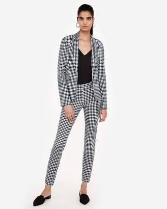 Express Gingham Notch Collar Button Blazer