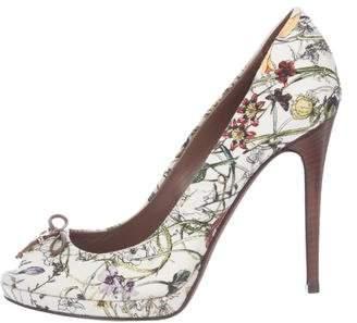 Gucci Floral Peep-Toe Pumps