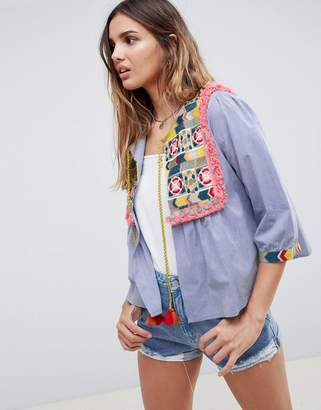 Glamorous Bed Jacket With Embroidered Panel And Tassle Ties In Chambray