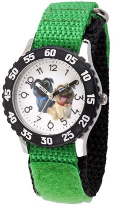 Disney Puppy Dog Pals Rolly and Bingo Boys' Stainless Steel Time Teacher Watch, Black Bezel, Green Hook and Loop Nylon Strap with Black Backing