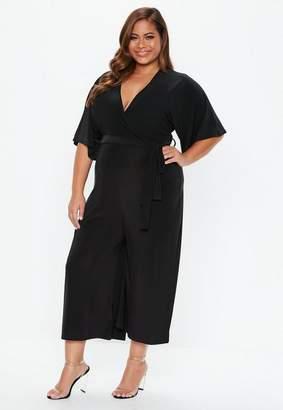 Missguided Plus Size Black Wrap Over Wide Leg Romper