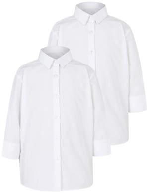 George Girls White School 3/4 Sleeve Shirt 2 Pack