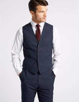 Marks and Spencer Indigo Checked Tailored Fit Wool Waistcoat
