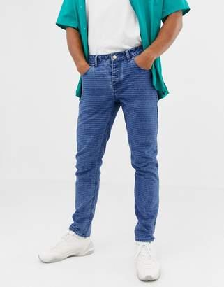Asos Design DESIGN slim jeans in mid wash blue with horizontal pin stripe