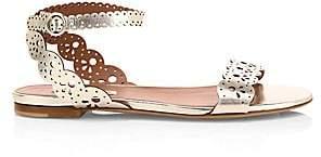 Tabitha Simmons Women's Laser-Cut Bobbin Metallic-Leather Sandals