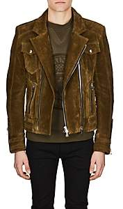 Balmain Men's Lace-Up Suede Moto Jacket-Olive