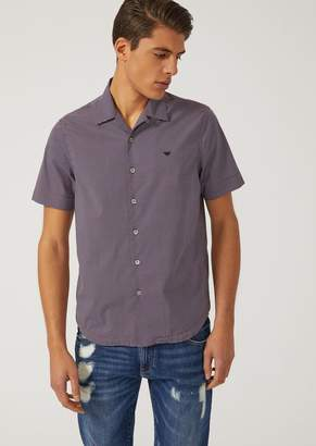 Emporio Armani Short-Sleeved Cotton Blend Poplin Shirt