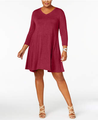 Style&Co. Style & Co Plus Size V-Neck A-Line Swing Dress
