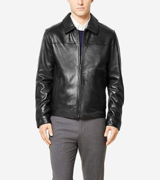 Cole Haan Signature Smooth Lambskin Shirt Collar Jacket