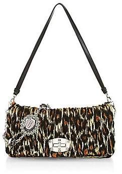 Miu Miu Women's Nappa Crystal Jacquard Rhinestone Shoulder Bag