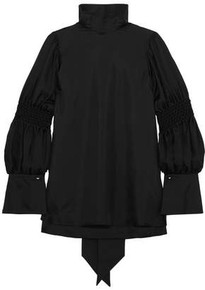 Adeam - Smocked Silk-twill Blouse - Black