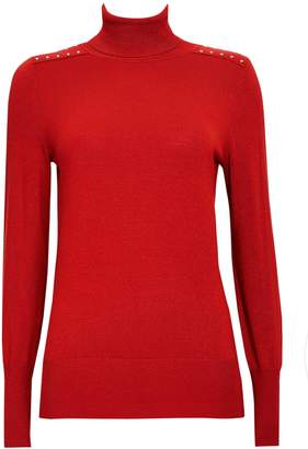 Wallis Red Stud Detail Polo Neck Jumper