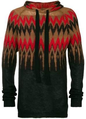 Laneus geometric print hoodie