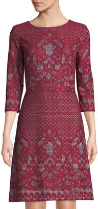 Gabby Skye 3/4-Sleeve Bonded-Lace A-Line Dress