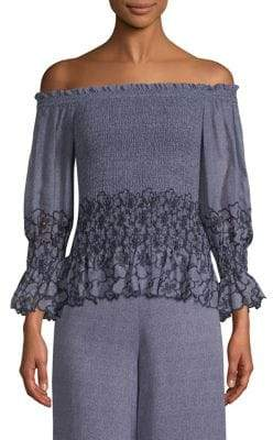 Alexis Jordana Off-The-Shoulder Smocked Top